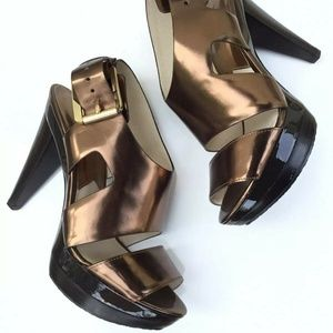 Michael Kors Carla Bronze Platform Sandals  Heels
